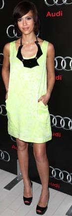 "Who made Jessica Alba's yellow dress that she wore to the Audi Super Bowl XLIV Party"" at the W Hotel in South Beach, Florida?"