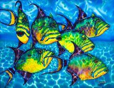 Trigger Fish - Caribbean Sea Painting by Daniel Jean-Baptiste (sobre seda) Artist Painting, Silk Painting, Fish Art, Metal Prints, Fine Art America, Painting, Art, Tropical Art, Silk Art
