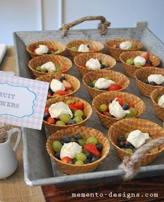 Fruit Cup-fruit salad in waffle cone   bowl-clever!