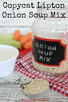 Copycat Lipton Onion Soup Mix: Easy Homemade Onion Soup Mix! You won't believe how much money you'll save once you start making your own homemade soup mixes! Perfect for seasoning a roast in the slow cooker too! Check out the easy ingredients here!