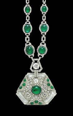 Art Deco necklace with diamonds, emeralds and rock crystal