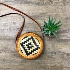 Chequered Roundie Rattan Bag Leather Tooling, Leather Clutch, Boho Bags, Vintage Leather, Rattan, Purses And Bags, Wallets, Bamboo, Christmas Ornaments