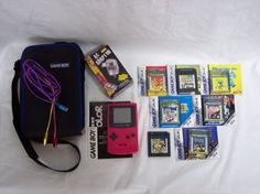 Nintendo Game Boy Color Pink Handheld System with AC adapter and 7 games #Nintendo