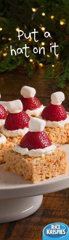 Make a simple Rice Krispies® treat festive by capping it with a strawberry Santa hat. ()Would make dairy and gluten free Christmas Snacks, Xmas Food, Christmas Brunch, Christmas Cooking, Holiday Treats, Holiday Recipes, Holiday Baking, Christmas Desserts, Christmas Cakes