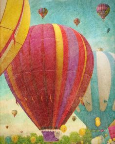 Hot Air Balloons 1  blue green  mint green  by FloatingLeafArts