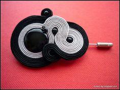 Black&gray soutache brooch