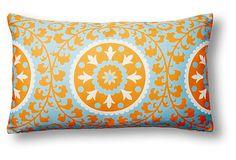 Tangerine/sky blue/cream Ameena 14x24 Outdoor Pillow, Tangerine on OneKingsLane.com