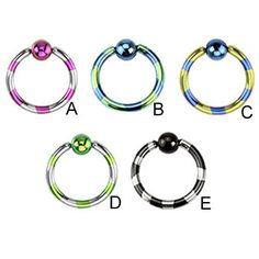 Titanium anodized duel-tone striped captive bead ring, 16 ga
