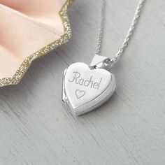 Girl's Personalised Sterling Silver Heart Locket - Give a Christening gift that shows they are truly cherished. Thoughtful and original, lots of the products can be personalised as they are created by talented independent designers or small creative businesses.