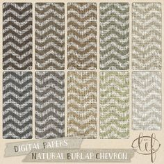 Burlap Chevron Digital Paper Pack / Jute / Canvas / Linen by ByLef  Chevron painted burlap patterns. You can almost smell the fresh paint applied to it! These files might be just what you need for your next design or creative project. Ten earthy colors that keep yer feet on the ground (If you get that reference without googling, send me a message through conversation with your email address and a little backstory about that reference, and I'll send you a free digital goodie ;)).