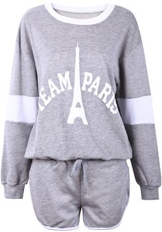 Top Eiffel Tower Letras manga larga con Shorts-Gris EUR€24.85