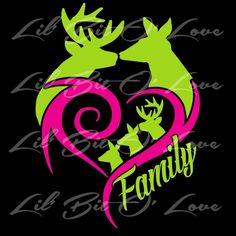 Buck & Doe Heart Deer Family Vinyl Decal Sticker Customize to match your family - Decals, Stickers & Vinyl Art Window Decals, Vinyl Decals, Vinyl Art, Car Decals, Daddy Tattoos, Hook Tattoos, Chicano, Country Girl Tattoos, Deer Skull Tattoos
