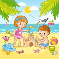 Buy Boy and a Girl Building a Castle From the Sand by svaga on GraphicRiver. Boy and a girl are building a castle from the sand. Children playing on the beach by the sea. Vector illustration in . Cartoon Drawing For Kids, Easy Drawings For Kids, Cartoon Kids, Cartoon Drawings, Cute Drawings, Painting For Kids, Art For Kids, Beach Drawing, Beach Illustration