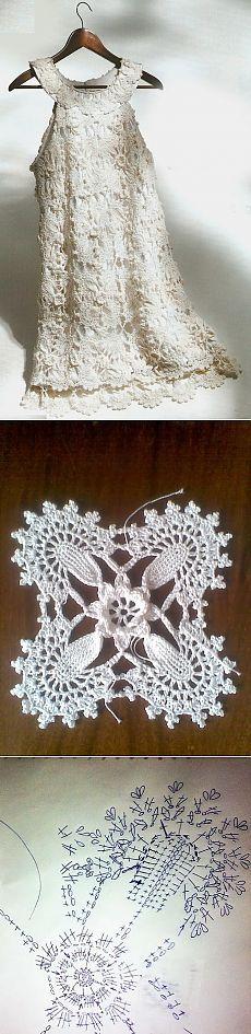 Vestido Crochê e Graficos -  /   Crocheted Dress and Graphics -