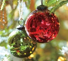 pottery barn mercury glass ball ornaments red green set of 6