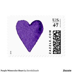 Purple Watercolor Heart Stamp  Available in three sizes and three rates!  #stamp #postage #post #mail #letter #united #states #postal #service #friend #family #mailing #send #sent #service #greeting #card #heart #love #emotion #relationship #feeling #friendship #friend #family #meaning #meaningful #water #color #watercolor #cute #pretty