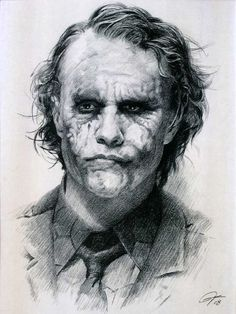 "Heath Ledger as Joker from The Dark Knight (2008) Sketch Portrait, Charcoal Graphite Pencil Drawing Poster - 11"" x 14"" Print (WU222) from FlyDart, INC. - Discount Poster Store"