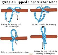 How to Tie a Slipped Constrictor Knot Ideas Camping knots Constrictor Knot Slipped Tie Paracord Knots, Rope Knots, Survival Knots, Survival Skills, Sailing Knots, Knots Guide, Invisible Stitch, Nautical Knots, Rope Crafts