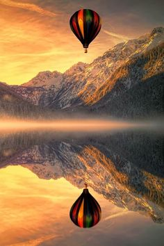 Phenomenal Reflection Pictures of hot air balloon on Water Images Cools, Pretty Pictures, Cool Photos, Amazing Pictures, Amazing Photography, Landscape Photography, Photography Sky, Reflection Photography, Reflection Pictures