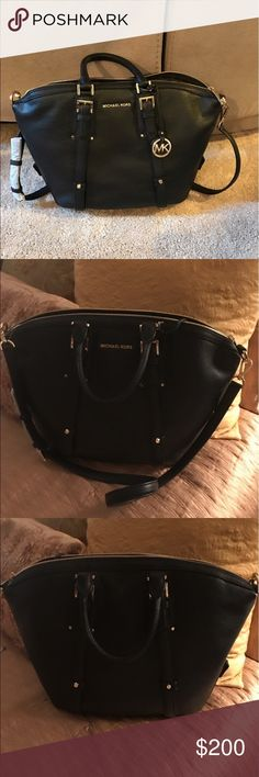 Michael Kors Black Leather Satchel Black leather satchel with gold hardware. Excellent MK Quality. Has a removable strap and can be carried on your shoulder or with double handles. Will receive a free gift with your purchase. Michael Kors Bags Satchels