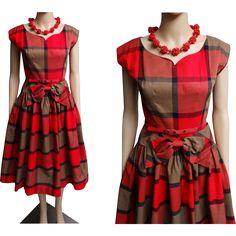 1ac2d64616a 1950s Dress  Vintage 50s Dress  Red Plaid  Rockabilly Dress  New Look  Mod