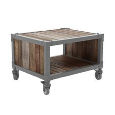 TV stand -- Made from FSC approved recycled teak wood with a natural raw finish and an iron frame with a matte grey finish Specifications: Construction: wood/metalSurface: solid woodDimensions: L 22� xW 18� x H 14.5�