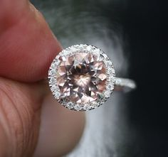 Single Halo 14k White Gold 9mm Morganite by Twoperidotbirds, $1,450.00  This is gorgeous!!!