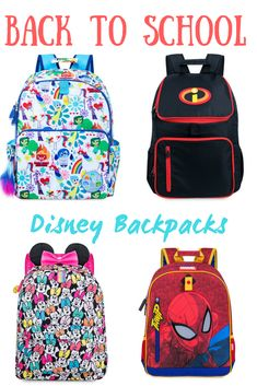 Great Disney Backpacks for back to school.