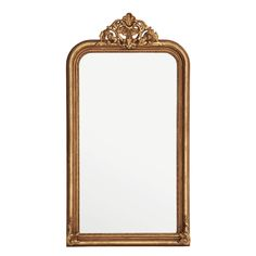 Bring classic style to your home décor with the guilded Boulogne Mirror. Featuring a frame with deep moulding and an ornamental crown in antique gold leaf, this beautiful wall mirror makes a sophisticated accent for your hallway, living room, or bedroom. Mirror Restoration, How To Clean Mirrors, Acrylic Furniture, Wood Mirror, Trumeau Mirror, Mirror Glass, Mirror Mirror, Gold Walls, Beautiful Wall