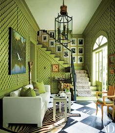 Chartreuse, black and white color scheme.