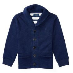 Ralph Lauren Childrenswear Fleece Shawl-Collar Cardigan (170 BRL) ❤ liked on Polyvore featuring blue and kids apparel shirts