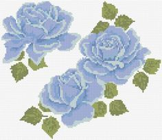 Cross Stitch | Blue Roses xstitch Chart | Design Blue Roses, Rose Flowers, Chart Design, Free Design, Cross Stitch Designs, Cross Stitch Patterns, Cross Stitch Rose, Campers, Embroidery Designs
