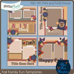 Fall Family Fun Templates :: Gotta Pixel Digital Scrapbook Store by Miss Fish Templates $3.99