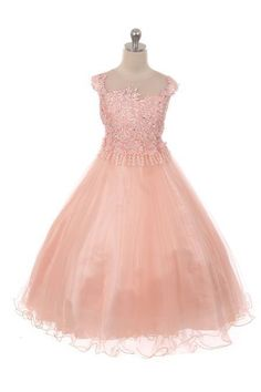 09b133b6901d9 Girls Special Lace & Organza Full Length Special Occasion Dress in  Royal, Blush #