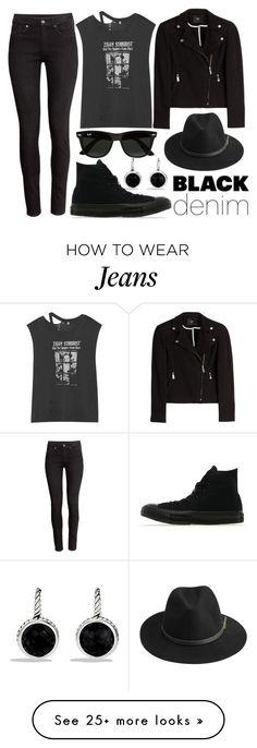 """""""Denim Trend: Black Jeans"""" by joslynaurora on Polyvore featuring H&M, David Yurman, Steffen Schraut, R13, BeckSöndergaard, Converse, Ray-Ban, women's clothing, women's fashion and women"""