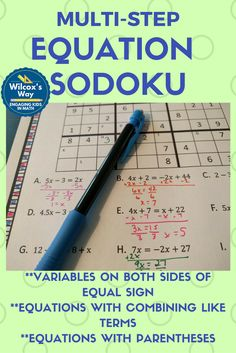 Fun way to practice multi-step equations with these sodoku puzzles. Includes solving equations with parentheses, equations with variables on both sides, and equations that require combining like terms Math Teacher, Math Classroom, Teaching Math, Math 8, Teaching History, Future Classroom, Teacher Stuff, Teaching Ideas, Classroom Ideas