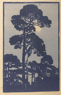 the forest stands so straight and tall at noon John Wills Lone Pine - Henrietta Davidson Bailey (Woodblock print, haiku and illustration mixed by カタツムリ(Lyon, France) 2013 Woodcut Art, Linocut Prints, Art Prints, Block Prints, Illustrations, Illustration Art, Botanical Illustration, Landscape Art, Landscape Paintings