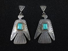 Vintage Navajo Silver and Turquoise Earrings - Thunder Birds