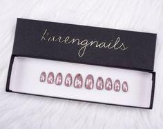 Mauve and Rose Gold Nails   Press On Nails   Glue On Nails   False Nails   Any Shape   Handpainted