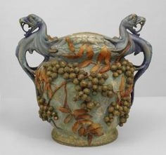 Austrian (1900) monumental blue/green Amphora jardiniere with twin cobra handles and decorated with grapes & leaves (signed: AMPHORA, AUSTRIA, 2060?)