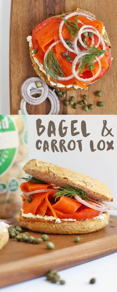 This vegan Bagel and Lox sandwich is made with roasted and marinated carrots, vegan cream cheese, and fresh herbs for a delicious plant-based alternative.