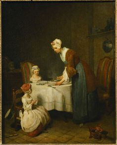 Jean-Baptiste-Siméon Chardin, Saying Grace (La Benedicite) (1740), via Artsy.net. Check out Brigette's review of W. Somerset Maugham's The Moon And Sixpence here: http://chaptersandscenes.wordpress.com/2014/05/26/brigette-reviews-the-moon-and-sixpence/