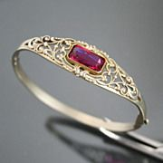 Edwardian Bracelet. Hinged Bangle. Filigree.