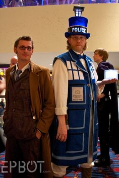 #DoctorWho TARDIS Blue Police Box and The 10th Doctor David Tennant Halloween Costumes!! I must confess that I'm in love with the TARDIS top hat. *swoon*