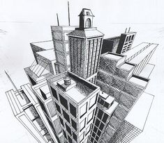 Three-point perspective regards linear perspective in which parallel lines along the width of an object meet at two separate points on the horizon and vertical lines on the object meet at a point o...
