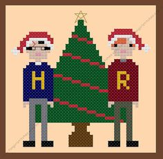 "Have a magical Christmas with Ron and Harry, and stitch your very own Christmas card or decoration! ""Happy Christmas Harry"" ""Happy Christmas Ron. What are you wearing?"" ""... #crossstitch #hogwarts #cross-stitch #easy #embroidery #magic #wizard #quick #kitch"