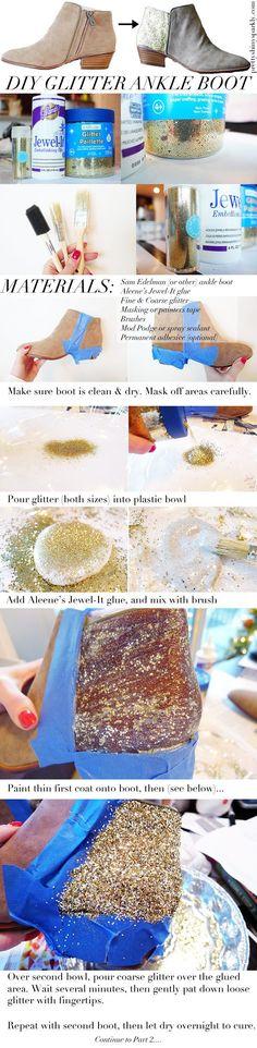 DIY glitter ankle boot tutorial http://prettyshinysparkly.com/diy-glitter-ankle-boots/