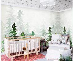 Watercolor Green Pine Tree Wallpaper Wall Mural Green | Etsy