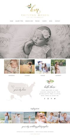 Wix Website design, website template, photography logo, watercolor flowers, photography website, wedding planner website, gold logo 4902 by SunnyBlossomDesigns on Etsy