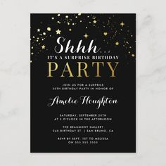 Black & Gold Confetti Shhh... Surprise Party Invitation Postcard Surprise Birthday Invitations, Birthday Invitation Templates, 50th Birthday Party, Gold Invitations, Elegant Invitations, Invites, Postcard Invitation, Gold Confetti, Black Gold